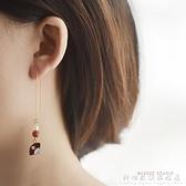 和風日式櫻花耳線可愛ins少女心網紅百搭簡約氣質長款耳環耳釘女 科炫數位