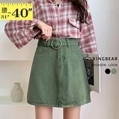 裙子--修飾顯瘦個性附圓環腰帶素面A字牛仔短裙(黑.綠XL-5L)-Q125眼圈熊中大尺碼◎