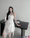 熱賣抹胸洋裝 抹胸連身裙女裝白色不規則網紗短裙2021夏季新款性感氣質禮服裙子 coco