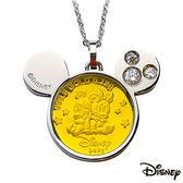 Disney迪士尼金飾 可愛兩小無猜 黃金/白鋼項鍊