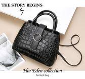 DF Flor Eden  - 韓式風潮貴氣單品鱷魚壓紋牛皮包