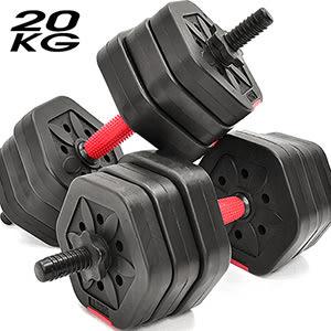 六角防滾20KG啞鈴組合.可調式20公斤啞鈴槓鈴.環保槓片短槓心桿心.重力舉重量訓練設備運動健身