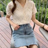 DE shop - 蕾絲衫網紗氣質V領襯衫 - XA-9355