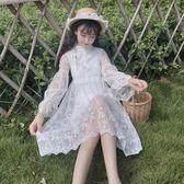 夏季女裝韓版學生白色裙中長款小清新裙子仙氣刺繡蕾絲洋裝 卡布奇诺