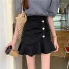 【Charm Beauty】黑色魚尾裙 高腰設計感 小眾氣質 不規則 a字半身裙女 短裙 包臀裙子