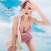 [599免運] 比基尼 【櫻桃甜心粉白格高腰比基尼兩件組】爆乳 性感 泳裝 泳衣 2b184