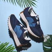 NEW BALANCE 休閒鞋 NB327 藍 水藍 LOGO 復古 拼接 男女 (布魯克林) MS327HL1