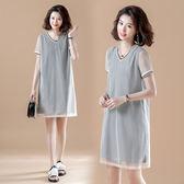洋裝連身裙胖mm大碼女裝200斤夏裝網紗拼接棉格子寬松顯瘦短袖假兩件連身裙F3F124B朵維思