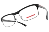 PRADA光學眼鏡 VPS06F 1AB1O1 (亮黑) 一字半框款 眼鏡框  # 金橘眼鏡