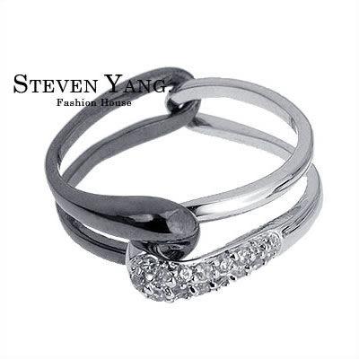 情人對戒 正白K飾 戒指「緊緊擁抱」鋯石*單個價格*