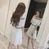 一字肩洋裝夏女2018新款一字肩溫柔裙冷淡風少女蕾絲連身裙 時光之旅 免運