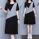 洋裝連身裙中大尺碼M-4XL假兩件連身裙...