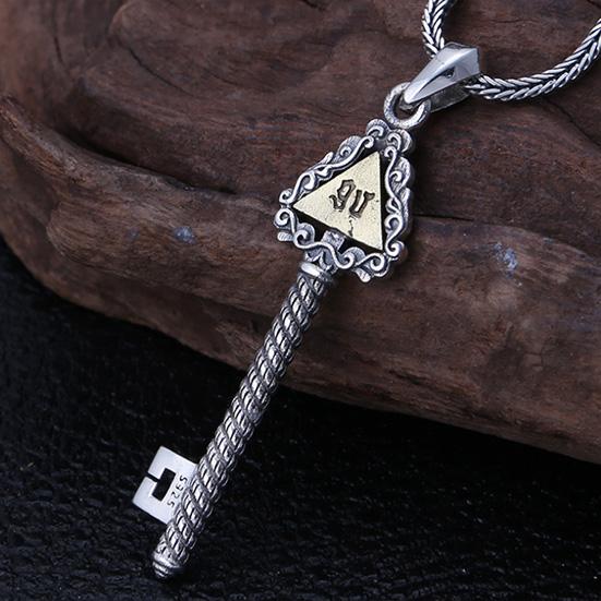 《 QBOX 》FASHION 飾品【C21S307】精緻個性復古三角形上帝之眼鑰匙S925純銀項鍊/泰銀吊墜