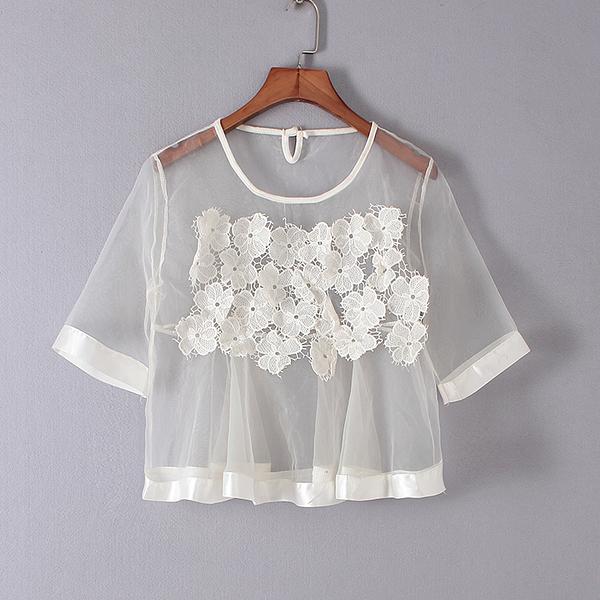 [超豐國際]夏裝女裝白色韓版時尚透明勾花可愛T恤 散1573(1入)