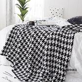 北歐純棉休閒毯子灰色千鳥格沙發毯針織毯毯床尾毯【聚物優品】