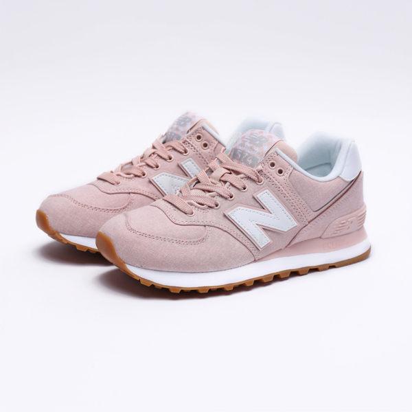 NEW BALANCE 574 咖啡底 粉紅類牛仔布 休閒鞋 女 (布魯克林) WL574SKC