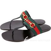 GUCCI Horsebit 經典馬銜織帶拼接夾腳鞋(黑色) 1820517-01