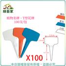【綠藝家】植物名牌100支/包(白色、藍色、橘色)T型花牌.蘭花名牌
