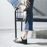 尖頭涼鞋女夏季平底鞋新?條紋一字扣2018韓版蝴蝶結包頭羅馬女鞋 森活雜貨
