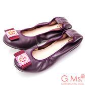 G.Ms. 牛皮織帶金飾彎折娃娃鞋*深紫