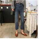 秋季新款韓版須邊顯瘦微喇牛仔褲女學生休閒褲復古百搭高腰九分褲
