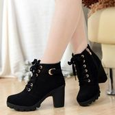 秋冬新款韓版高跟粗跟女靴子系帶短筒靴女短靴馬丁靴單靴女鞋棉靴
