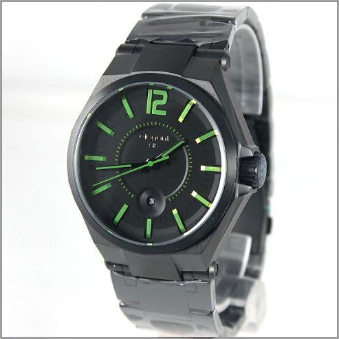 【萬年鐘錶】elegant大錶徑 時尚錶(黑綠) ELJT61-2G03MA