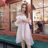 洋裝 新品2019甜美名媛氣質性感一字露肩大碼歐根紗公主連身裙度假風【快速出貨】