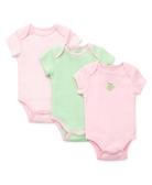 Little me 活肩式純棉短袖包屁衣三件組 粉青蛙 | 女寶寶連身衣(嬰幼兒/兒童/小孩)