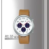 agnes b. 藝術世界三眼計時腕錶-卡其