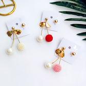 不對稱誇張珍珠復古耳環設計時尚小米珠櫻桃個性長款耳墜氣質耳釘【ADE595】