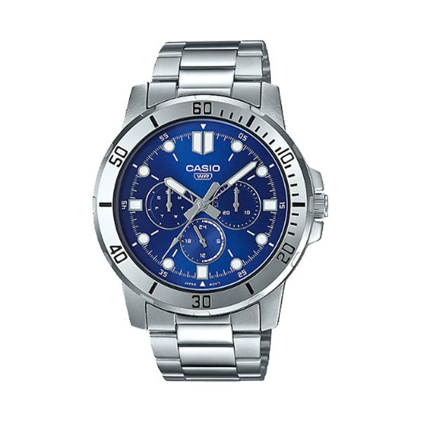 CASIO 卡西歐 手錶專賣店 MTP-VD300D-2E 指針男錶 不鏽鋼錶帶 藍色錶面 日期顯示 MTP-VD300D
