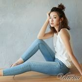 Victoria 低腰雙口袋白點九分褲-女-淺藍