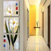 走廊裝飾畫冰晶玻璃豎版無框畫三聯畫玄關畫掛畫壁畫仿油畫小菊花LG-67022
