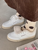 小白鞋 加絨小白鞋2021新款女冬韓版原宿港風休閒保暖舒適板鞋潮 小天使