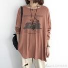 棉麻上衣純棉t恤女秋裝新款韓版時尚印花長袖打底衫洋氣寬鬆大碼上 快速出貨