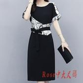 2020職業氣質裙子女夏新款大碼女裝網紅寬鬆顯瘦開叉印花連身裙洋裝潮 OO9788【Rose中大尺碼】