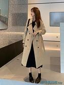 風衣外套 秋季黑色英倫風中長款外套大衣女2021新款寬松韓版氣質小個子風衣 快速出貨