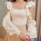 荷葉邊上衣 法式設計感方領露肩荷葉袖收腰襯衫女秋甜美仙女褶皺修身上衣寶貝計畫 上新