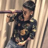 夏季花色襯衫男七分袖寬鬆精神小夥寸衫社會人修身五分短袖襯衣潮