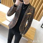 男士休閒西服韓版修身單上衣青年帥氣小西裝青少年學生薄款外套潮 千惠衣屋