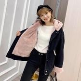 牛仔外套S-XL加絨加厚原宿撞色連帽黑灰色牛仔棒球服短外套女寬松工裝夾克D407韓衣裳
