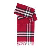 【BURBERRY】基本款經典格紋喀什米爾圍巾(梅紅色)3994153 PLUM CHECK