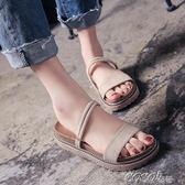 涼鞋  韓版百搭夏季新款平底中跟沙灘外穿涼拖鞋時尚兩穿露趾涼鞋女 coco衣巷