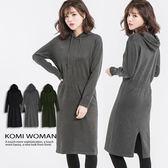 【KOMI】素色連帽針織毛衣洋裝 (1576-805155)