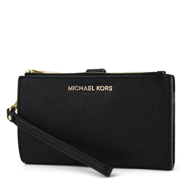 美國正品 MICHAEL KORS 專櫃款 防刮皮革對折釦式手掛手拿/手機包-黑色【現貨】