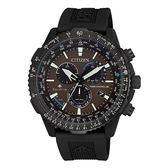 CITIZEN 航空電波光動能腕錶-CB5005-13X-黑X咖