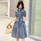 洋裝 薄牛仔連身裙女2021夏季新款寬鬆顯瘦A字連體裙氣質收腰襯衫裙子