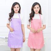 韓版純棉可愛波點雙層防水防油廚房做飯圍裙圍腰反穿衣工作服罩衣 優帛良衣