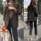 外套 春秋新款韓版格子西裝外套女修身百搭長袖上衣休閒時尚西服